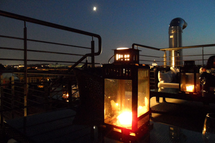La Luna Di Roma. The rooftop terrace on top the restaurant. A place for an endless night above the eternal city.