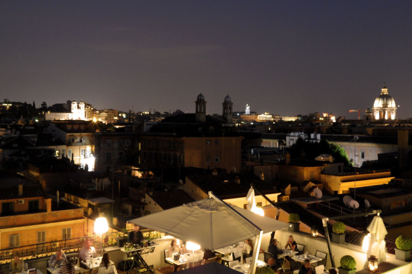 The rooftop terrace of THE FIRST Luxury Art Hotel Roma offers an amazing view on the capital´s landmarks and monuments.