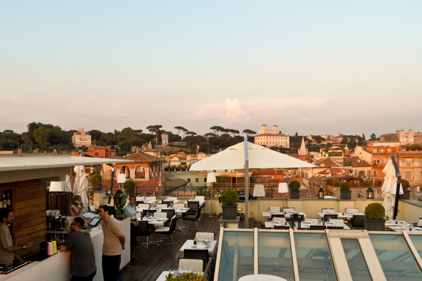The Rooftop restaurant. Nothing can beat the stunning view from the panoramic terrace of THE FIRST Luxury Art Hotel Roma.