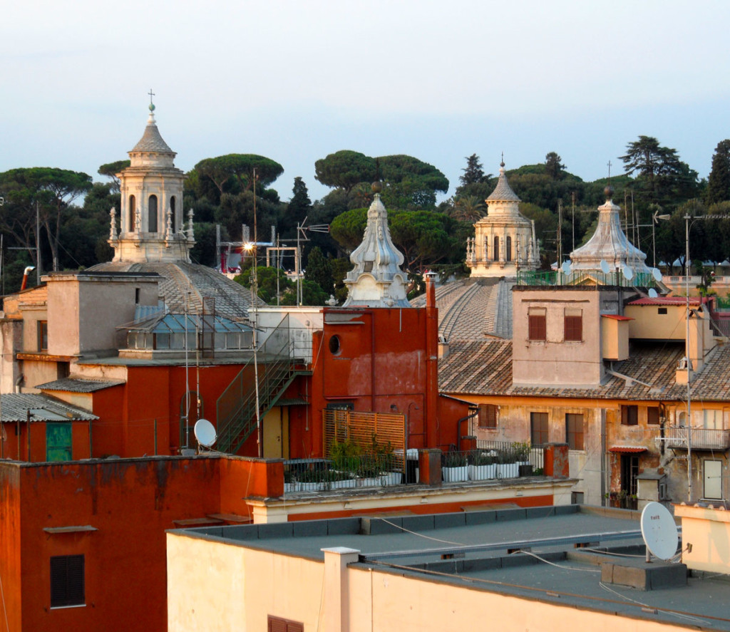 The Roofs Of Rome as seen from the panoramic terrace of THE FIRST Luxury Art Hotel Roma. photo: the art resort.