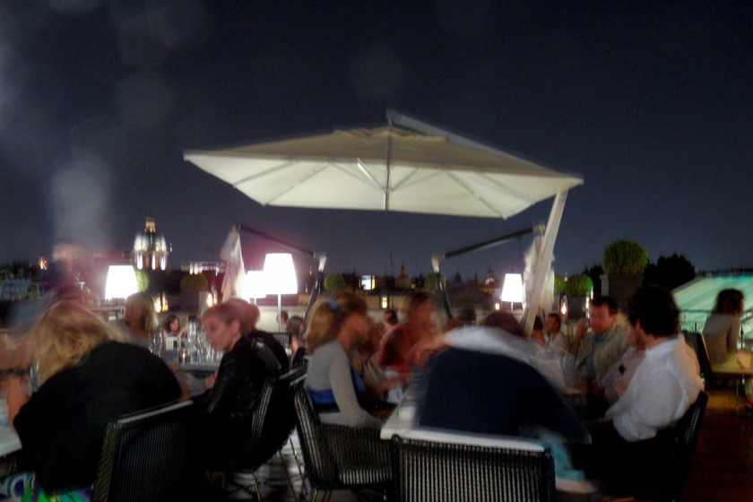 The rooftop restaurant, on top of THE FIRST Luxury Art Hotel Roma is one of Rom´s leading hotspots.