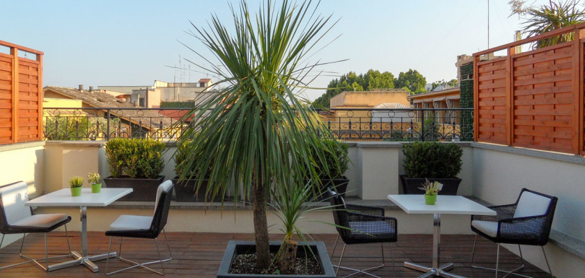Hideaway. A tranquil terrace at THE FIRST Luxury Art Hotel Roma.