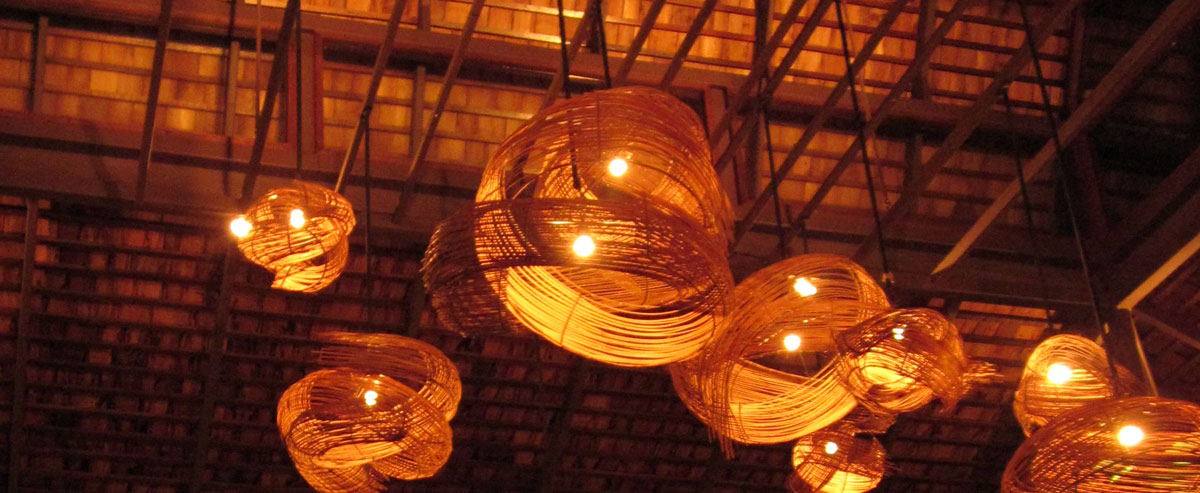A flock of floating lamps at the Terrace, the restaurant at the Moevenpick Resort Laem Yai-Beach Samui. photo: the art resort.