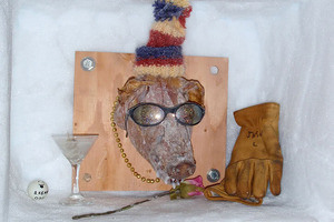 A pig's head shrine commemorating the first winter at the elevated station.