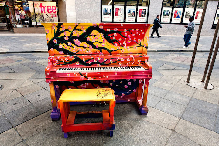 Play Me, I'm Yours places colorful painted pianos around the world to bring music and fun to the Streets.