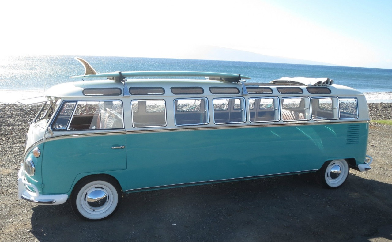 The world's only 1965 Volkswagen stretch microbus . . . with 33-windows and a ragtop sunroof. This bus can hold up to 12 passengers.