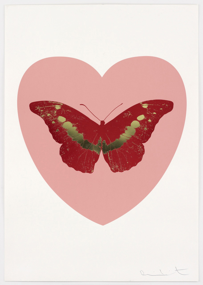 Damien Hirst, I Love You - Pink/Poppy Red/Cool Gold (2015) Photo via Paul Storper Gallery.
