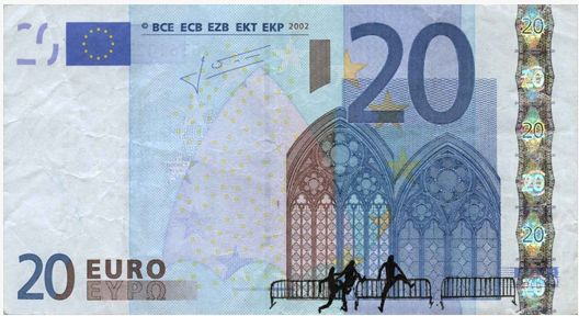 Euro bombing. Banknote hacked by Stefanos. Scan by: Stefanos