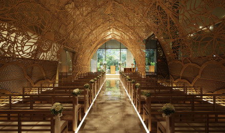 A Wedding Chapel Lit By Kimono Patterns