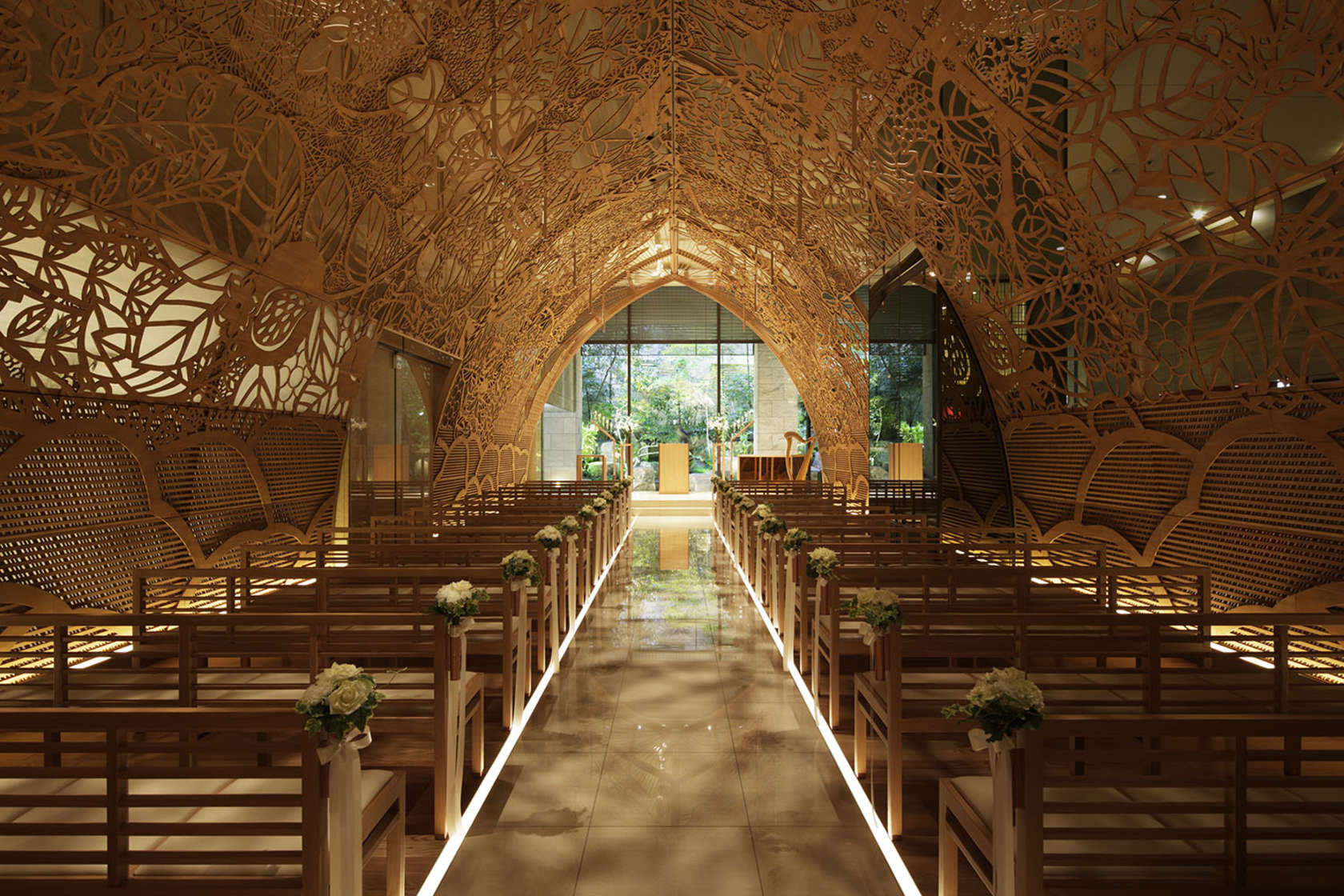 The Ana Crowne Plaza Hotel Chapel in Hiroshima. The dome's wooden cutwork casts shadows like sunlight through the trees, creating an illusion of a sun-dappled forest.