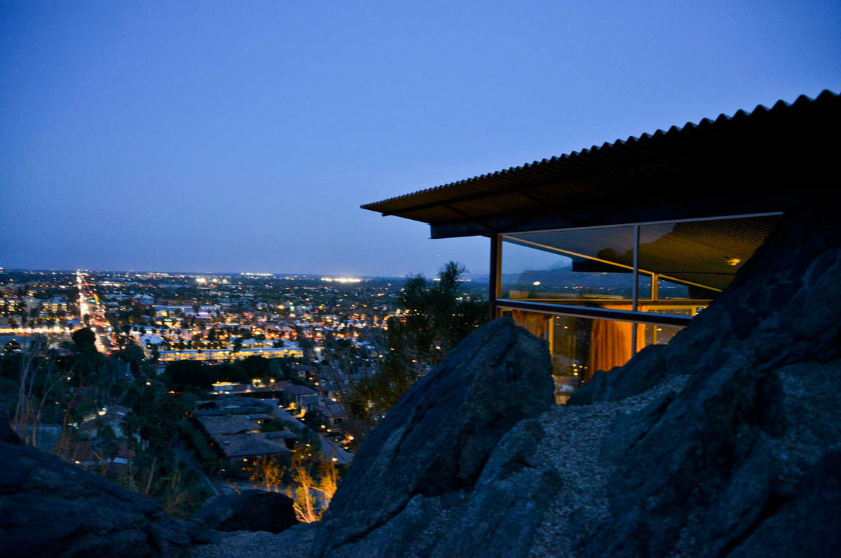 Modernist Architecture in Palm Springs: Dusk view-of Frey House. Photo by David A. Lee