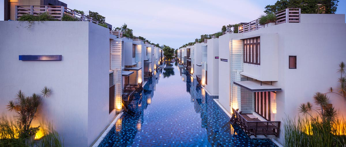 The impressive 120meter pool of the Lets Sea Hua Hin Al Fresco Resort at the beach of Hua Hin, Thailand. One of the best rated lodgings in the area.