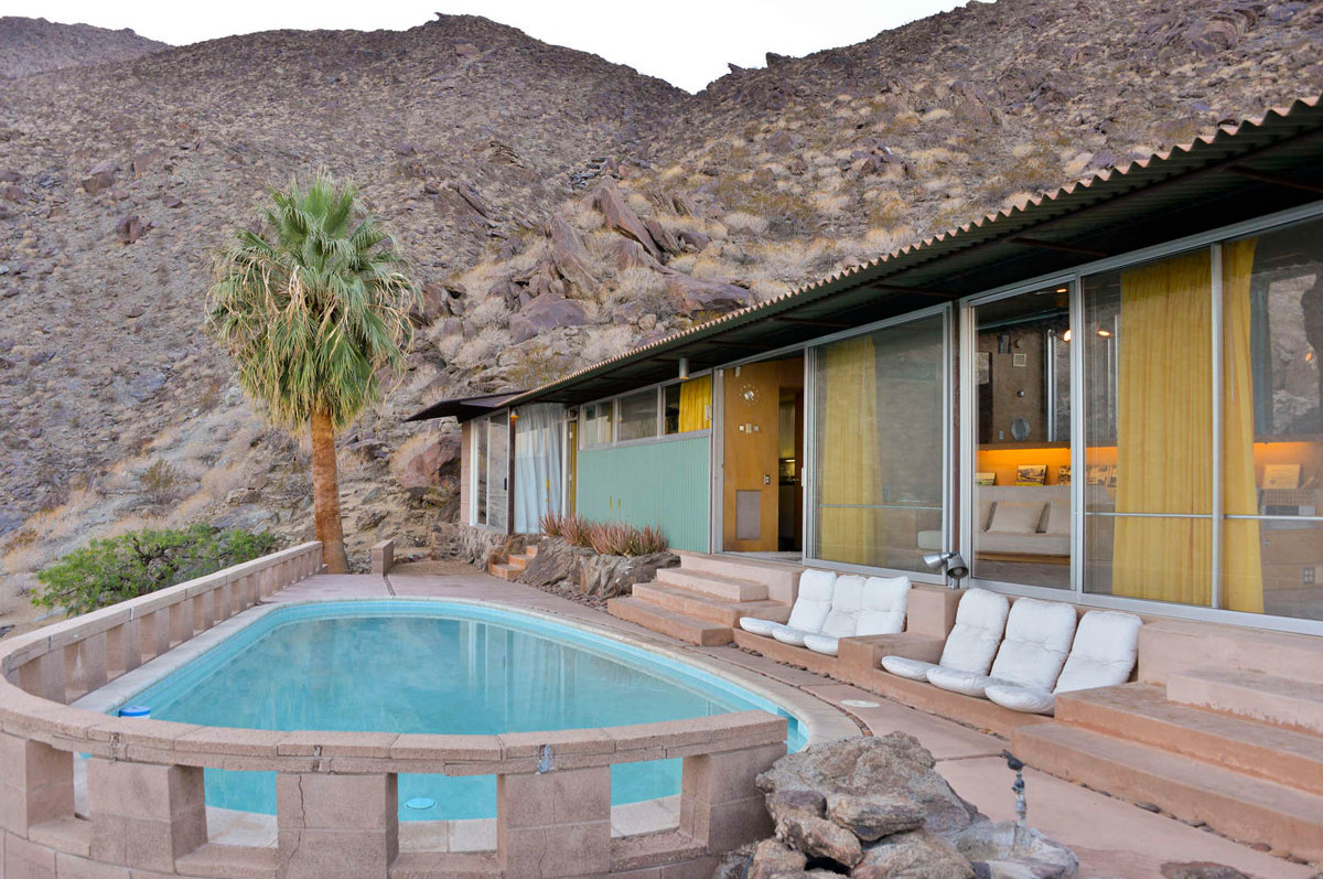 Modernist Architecture in Palm Springs: Pool view of the Frey House. Photo by David A. Lee