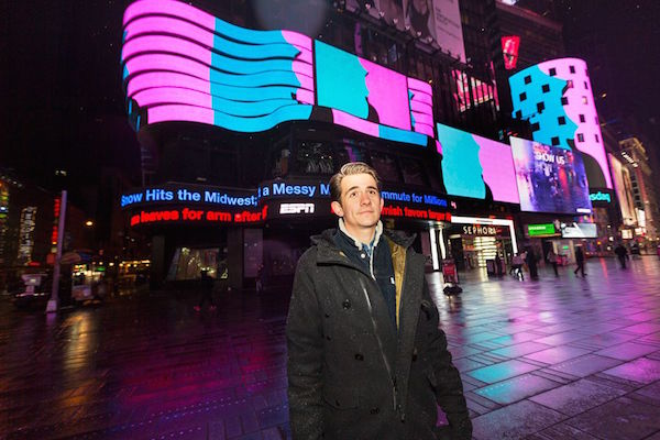 Rafaël Rozendaal in Times Square (New York), with Much Better Than This<br>Photo: Ka-Man Tse via The Creators Project