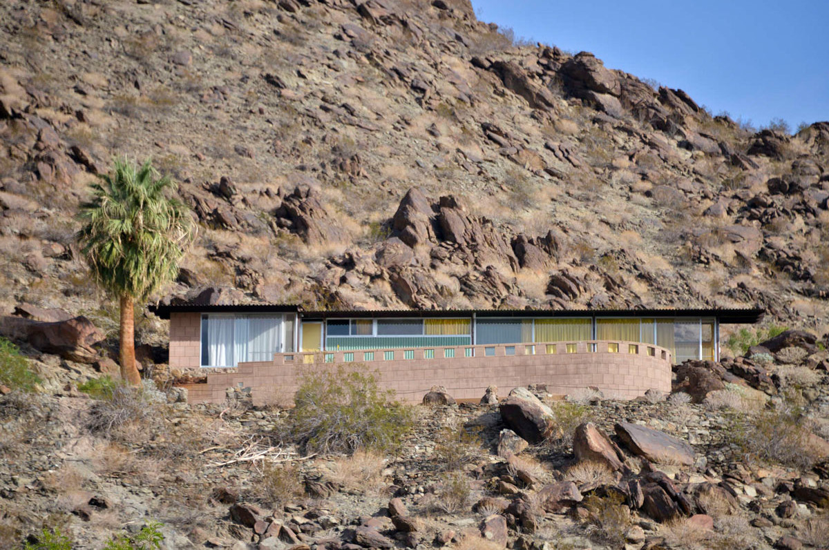 Modernist Architecture in Palm Springs: Rugged exterior view of the Frey House. Photo by David A.Lee
