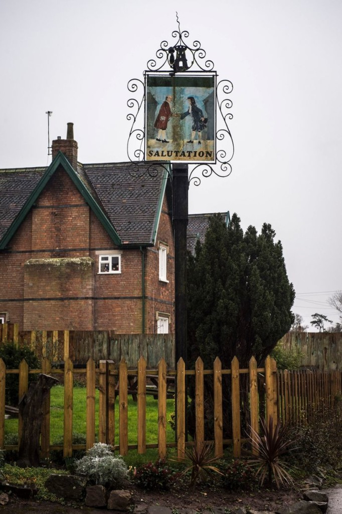 The Pub sign of the Salutation Inn in Ham which was crowned pub of the year by the Campaign for Real Ale.