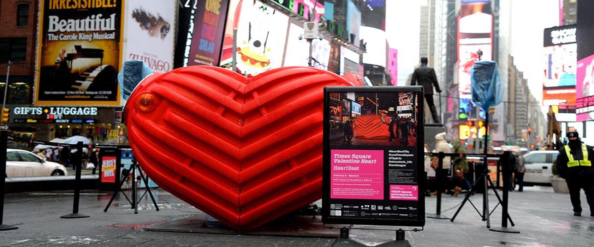 HeartBeat by Stereotank is a public art installation celebrating Valentine's Day in Times Square.