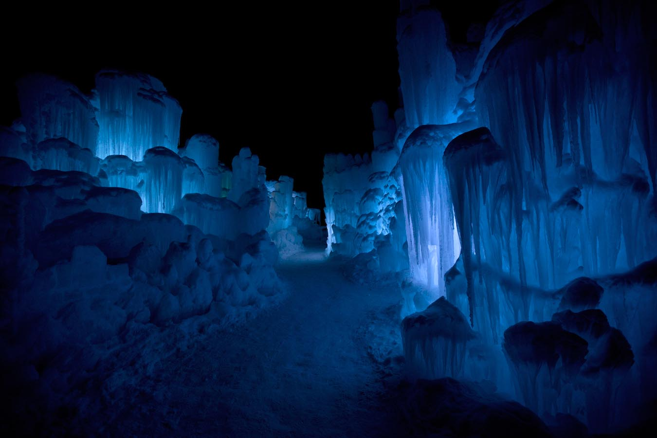 The Ice Castle in Lincoln, New Hampshire at night. Photo by Corey Schestak.