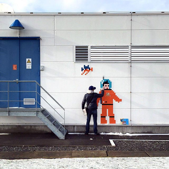 French street artist Invader invades the Euro Space Center.