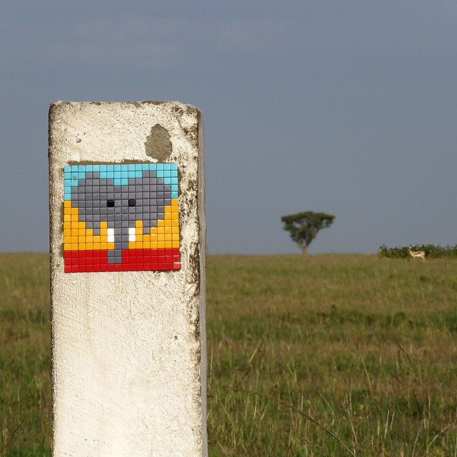Legendary Parisian street artist Invader visited the Serengeti in Tanzania. Fitting with his destination, Invader's latest artwork features an elephant, giraffe, and a tribal caricature in the artist's signature tiled mosaics.