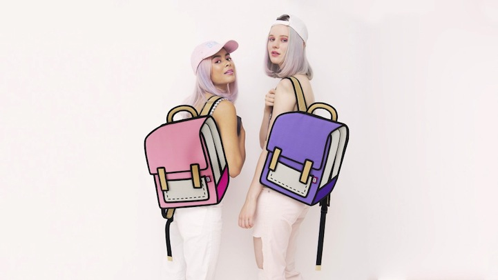 These toony handbags by Taiwanese label  Jump from Paper create clever optical illusions that make them look like cartoon cutouts.
