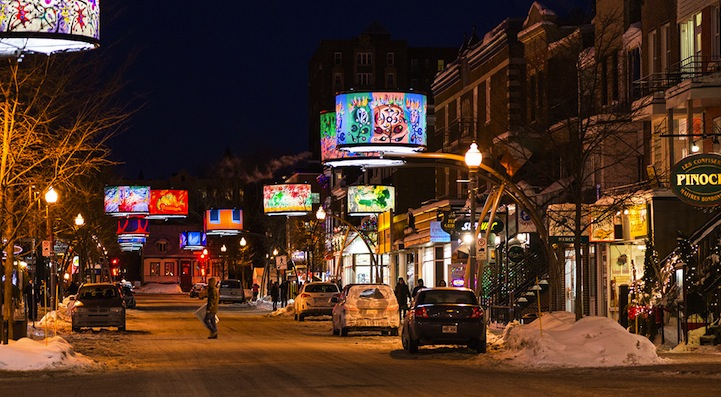 Currently on Cartier Avenue in Quebec City, 34 giant backlit lampshades, decorated with selected works by Alfred Pellan and Fernand Leduc from the Musée national des beaux-arts du Québec, are hanging over the street.