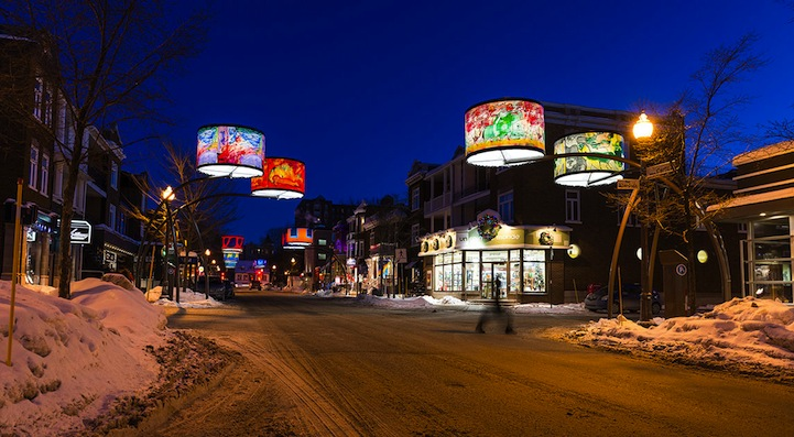 Quebec's Cartier Avenue Illuminated by Giant Lampshades.