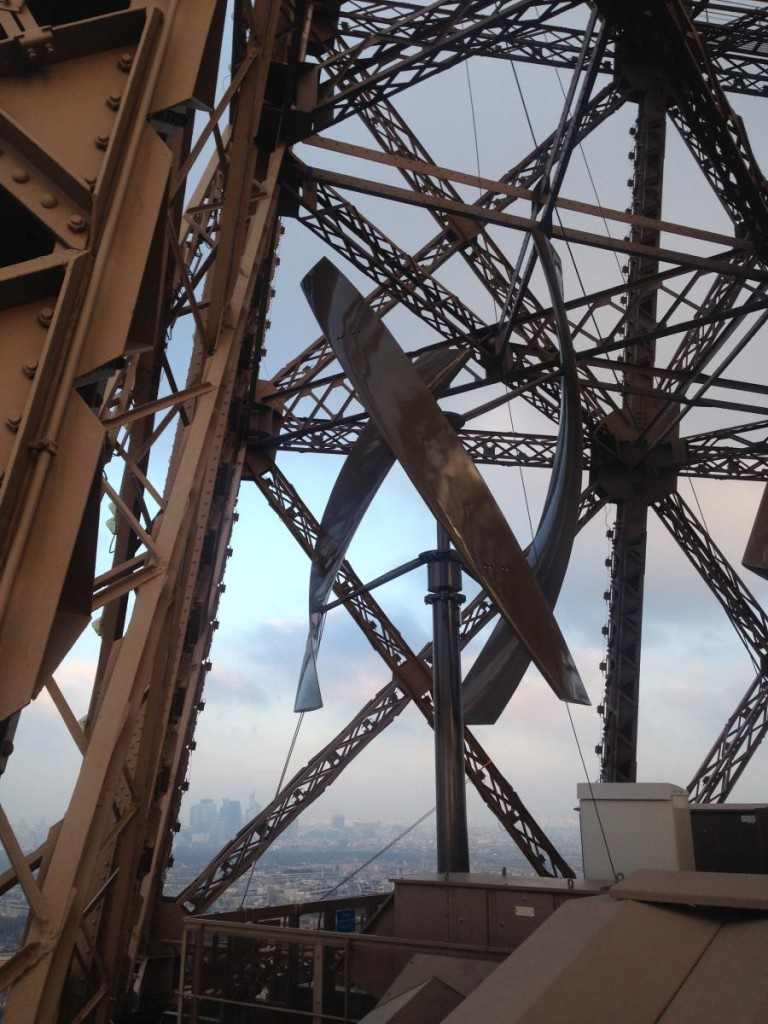 Wind Turbines on the Eiffel Tower. New York-based renewable energy provider UGE, In partnership with the Société d'Exploitation de la Tour Eiffel (SETE), installed two VisionAIR5 vertical axis wind turbines. image:UGE