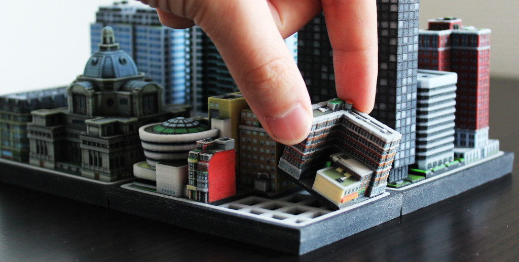 Miniature 3d printed buildings by Ittyblox.