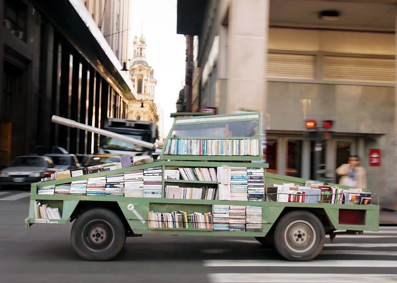 Weapons Of Mass Instruction by Raul Lemesoff is a traveling library in the shape of a tank.
