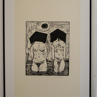 James Franklin Snodgrass, woodblock print, Projekt Spirits, Mystics, Muses. photo: artyesno for the art resort.
