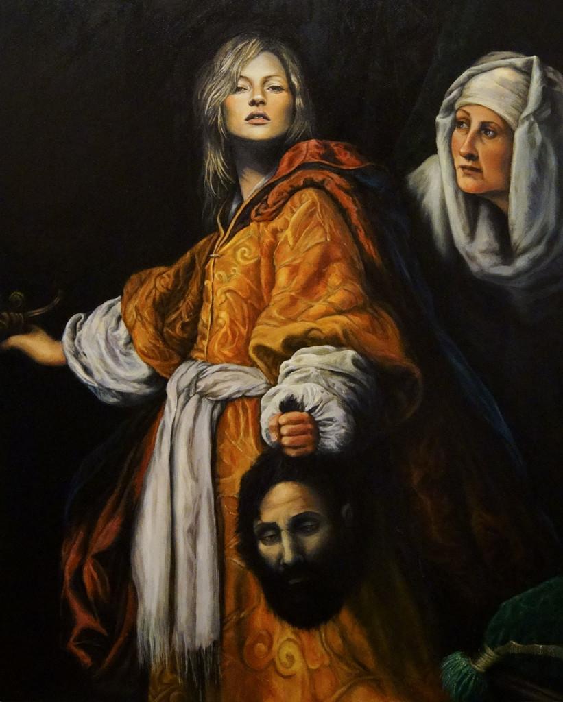 """Julia Murakami, Kate beheading Holofernes, 2010 (detail) adaptation of Cristofano Allori's """"Giuditta con la testa di Oloferne"""", Oil on canvas, 31.5"""" x 39.4"""""""